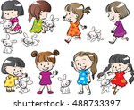 kids and pets set | Shutterstock .eps vector #488733397