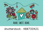 home sweet home hand drawn... | Shutterstock .eps vector #488733421