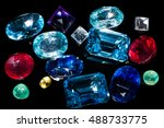 collection of beautiful gems... | Shutterstock . vector #488733775