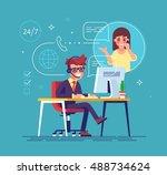 happy male helpline operator... | Shutterstock .eps vector #488734624