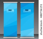 blue roll up business brochure...   Shutterstock .eps vector #488736151