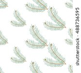 christmas seamless pattern with ... | Shutterstock .eps vector #488736595