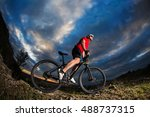 low angle view of cyclist... | Shutterstock . vector #488737315