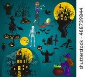 halloween background. horror... | Shutterstock .eps vector #488739844