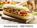 traditional italian sandwich... | Shutterstock . vector #488740051