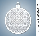 christmas ball with geometric... | Shutterstock .eps vector #488747125