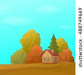 landscape  country house in... | Shutterstock . vector #488749669