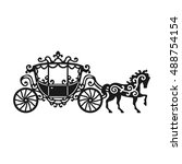 horse carriage silhouette with... | Shutterstock .eps vector #488754154