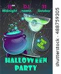 halloween party poster... | Shutterstock .eps vector #488759305