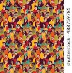 big crowd happy people color... | Shutterstock .eps vector #488759785