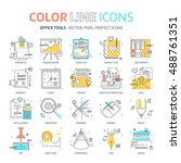 color line  office tools... | Shutterstock .eps vector #488761351