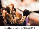 make up table with professional ... | Shutterstock . vector #488762011