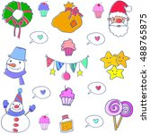christmas set object doodles... | Shutterstock .eps vector #488765875