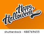 happy halloween hand drawn... | Shutterstock .eps vector #488769655