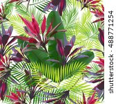 tropical leaves and flowers of... | Shutterstock .eps vector #488771254