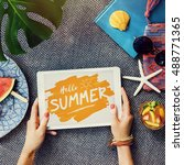 beach summer holiday vacation... | Shutterstock . vector #488771365