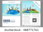 travel flyer design with famous ... | Shutterstock .eps vector #488771761