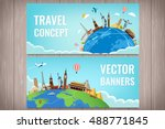 travel composition with famous... | Shutterstock .eps vector #488771845