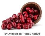 Cherry Berries In Wooden Bowl...