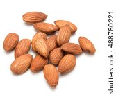 almond nuts isolated on white... | Shutterstock . vector #488780221