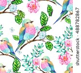 seamless bird pattern. amazing... | Shutterstock . vector #488782867