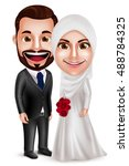 muslim couple vector characters ... | Shutterstock .eps vector #488784325
