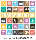 transportation icons set | Shutterstock .eps vector #488785315