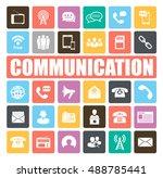 communication icons set | Shutterstock .eps vector #488785441
