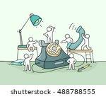 cartoon working little people... | Shutterstock .eps vector #488788555