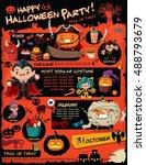 vintage halloween poster design ... | Shutterstock .eps vector #488793679