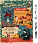 vintage halloween poster design ... | Shutterstock .eps vector #488793715