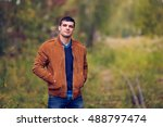 portrait of a man in autumn... | Shutterstock . vector #488797474