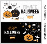 halloween party poster  flyer ... | Shutterstock .eps vector #488803147