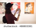 woman visiting art gallery... | Shutterstock . vector #488803381