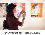woman visiting art gallery... | Shutterstock . vector #488803381