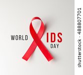 Small photo of Aids Awareness Sign Red Ribbon. World Aids Day concept.