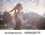 beauty woman running in the... | Shutterstock . vector #488808079