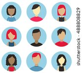male and female faces avatars.... | Shutterstock .eps vector #488808829