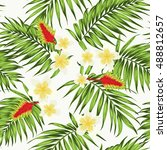tropical seamless pattern with... | Shutterstock .eps vector #488812657
