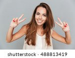 happy beautiful young woman... | Shutterstock . vector #488813419