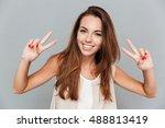 happy beautiful young woman... | Shutterstock . vector #488813419