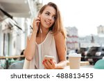 happy smiling young woman with... | Shutterstock . vector #488813455