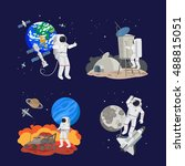set of astronauts in space ... | Shutterstock .eps vector #488815051