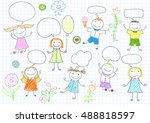 happy children. smiling girls... | Shutterstock .eps vector #488818597
