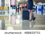 beautiful female passenger or... | Shutterstock . vector #488820751