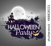 halloween party background with ... | Shutterstock .eps vector #488828221