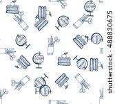 school pattern handicraft ink... | Shutterstock .eps vector #488830675