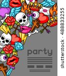 party invitation with retro... | Shutterstock .eps vector #488833255