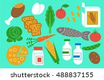 set of  icons of dietary... | Shutterstock .eps vector #488837155