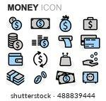 vector black line money icons... | Shutterstock .eps vector #488839444